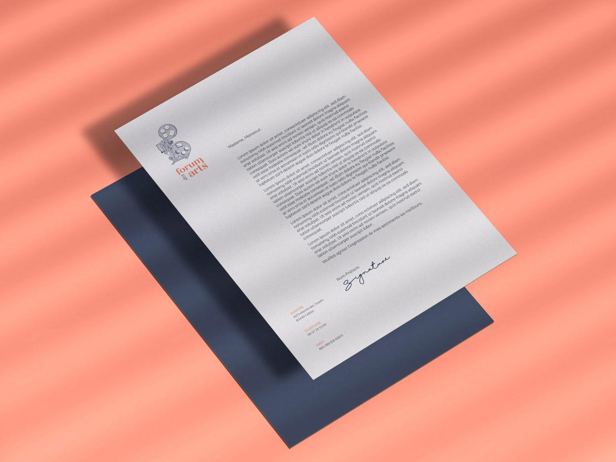 Papier à en-tête du Forum des Arts par Marine Dassac Design Studio