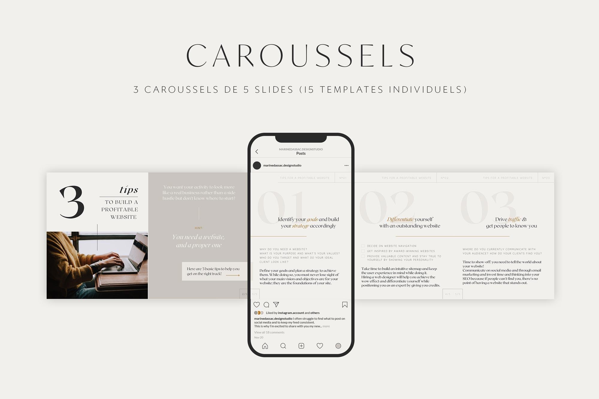 Templates de caroussels Instagram à personnaliser