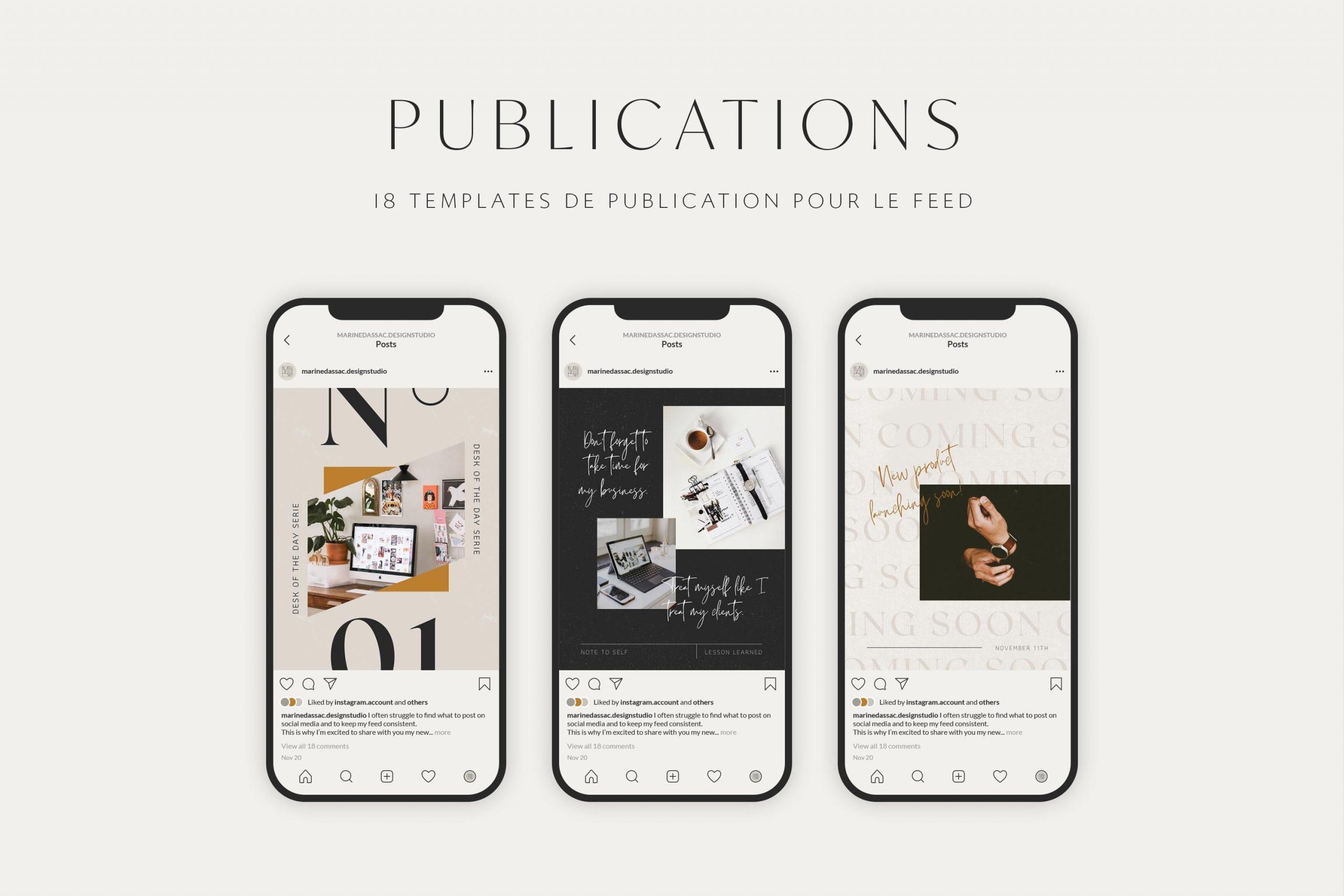 Templates de post Instagram à personnaliser