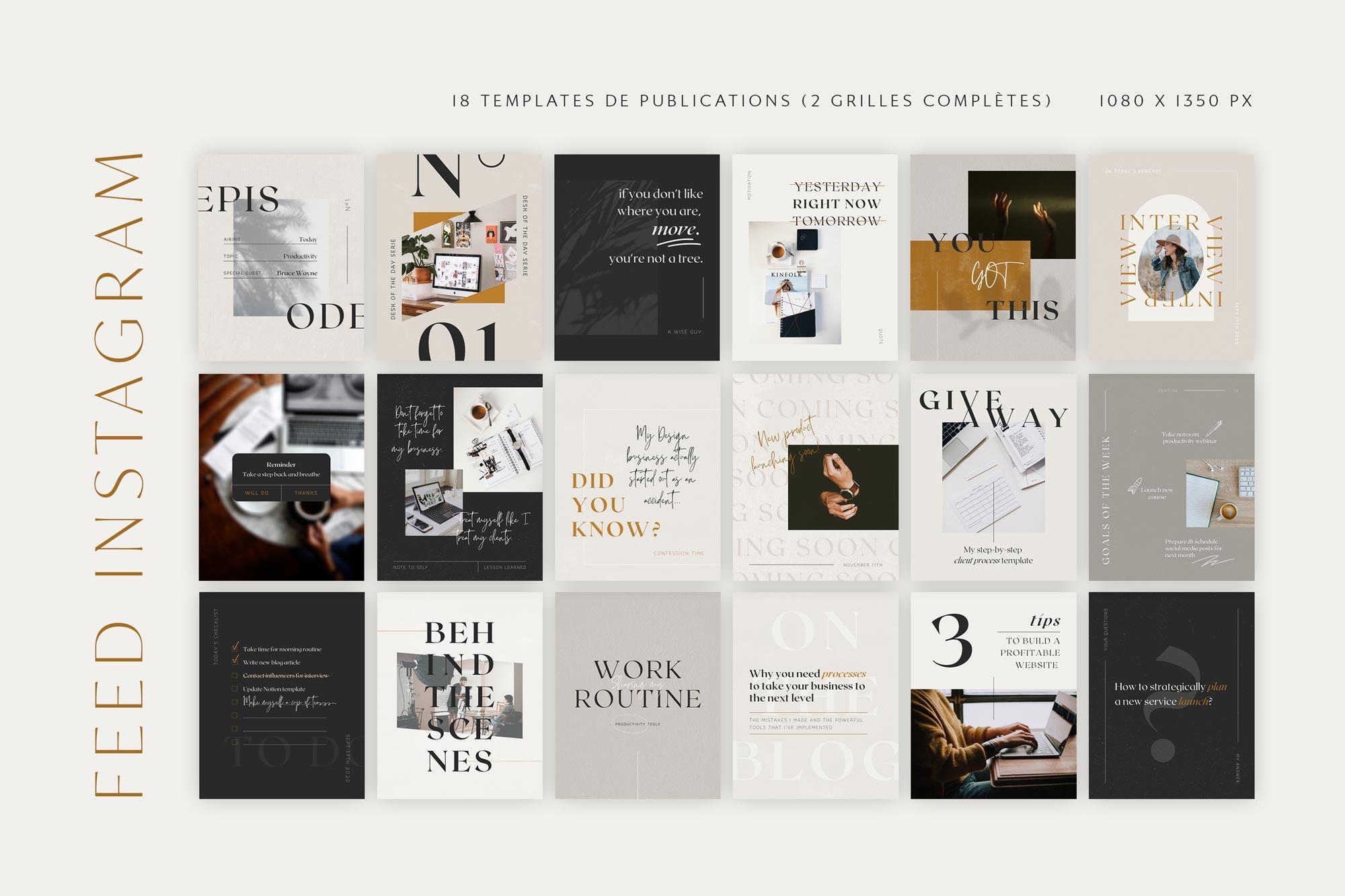 Templates de publications, posts, feed Instagram à personnaliser